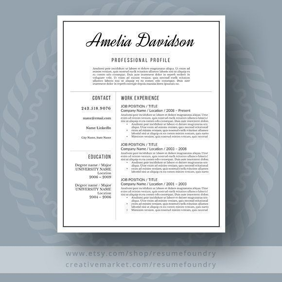 Resume and Cover Letter by ResumeFoundry on @creativemarket Professional printable resume / cv cover letter template examples creative design and great covers, perfect in modern and stylish corporate business design. Modern, simple, clean, minimal and feminine style. Ready to print us letter and a4 layout inspiration to grab some ideas. In psd, indd, docs, ms word file format. #resume #cv #template #professional #word #modern #creative #design