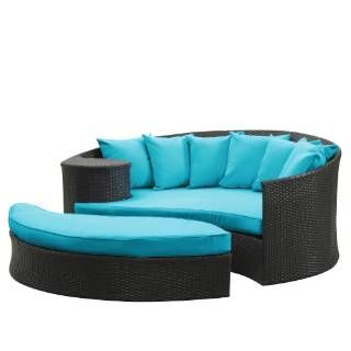 Check out the East End Imports EEI-645-EXP-TRQ Taiji Outdoor Rattan Daybed with Ottoman in Espresso with Turquoise Cushions