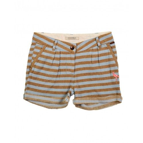 Scotch R'Belle Striped Shorts - love the flamingo embroidery details!