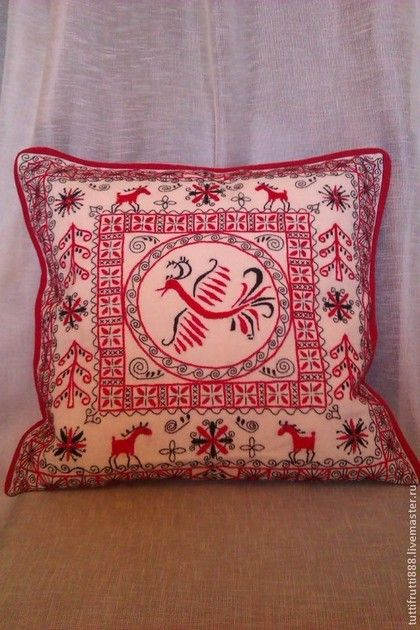 Текстиль, ковры ручной работы. Ярмарка Мастеров - ручная работа Льняная подушка с вышивкой Птица счастья-мезенская роспись. Handmade.
