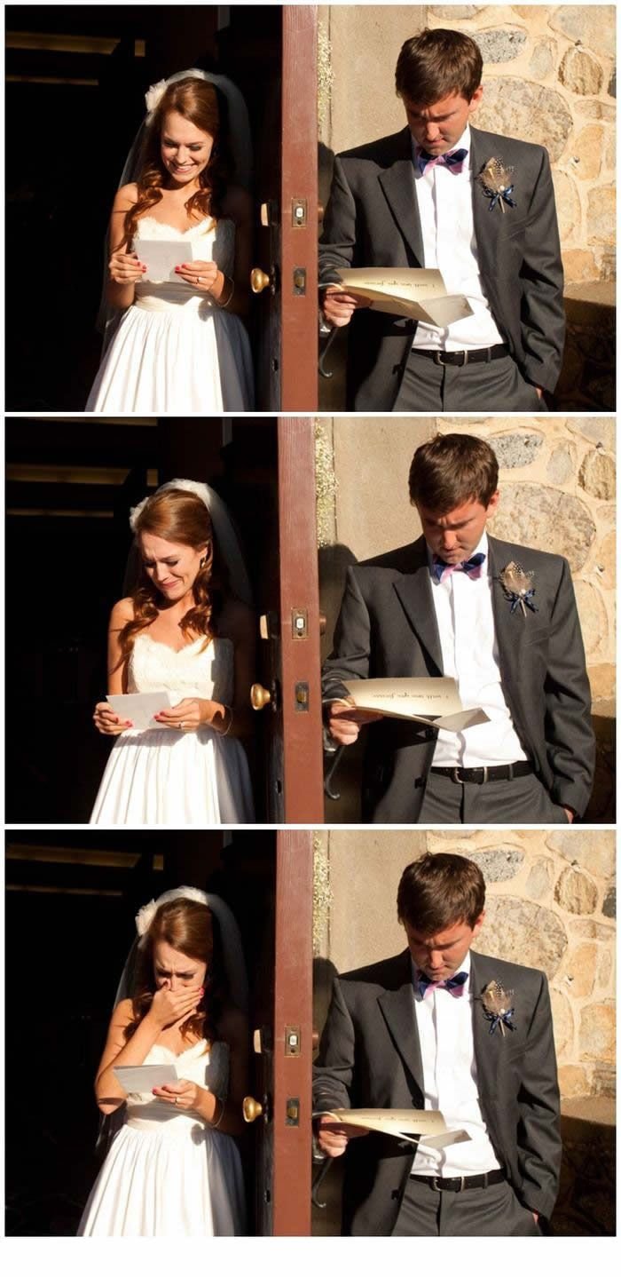 Send each other heartfelt letters on the morning of the wedding & you'll see the true difference between a bride and a groom.