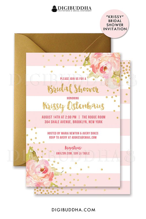 Blush Pink Gold Striped Bridal Shower Invitations With Boho Chic Watercolor Peonies And