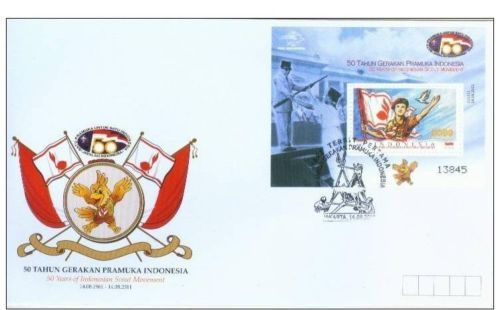 2011 The 50th Anniversary of the Indonesian Scout Movement. Issued date: 14 August 2011