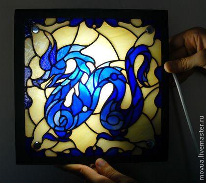 Освещение ручной работы. Ярмарка Мастеров - ручная работа Витражный светильник бра ночник Синий Дракон. Handmade.