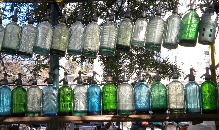 Soda Bottles. Antique Flea Market in San Telmo - Buenos Aires, Argentina.