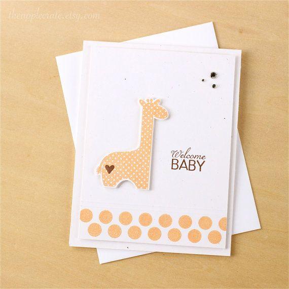 Handmade Baby Card, Welcome Baby, Stamped Baby Card, Baby Giraffe Card, Baby Shower Card