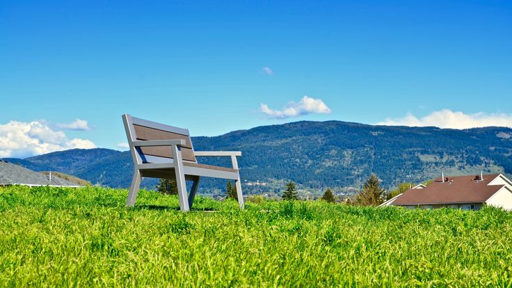 Wishbone Rutherford Wide Body #Bench in Vernon BC #park #bench #landscapearch #streetfurniture