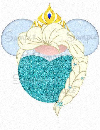 Elsa inspired Mickey Head digital printable by SwirlyColorPixels