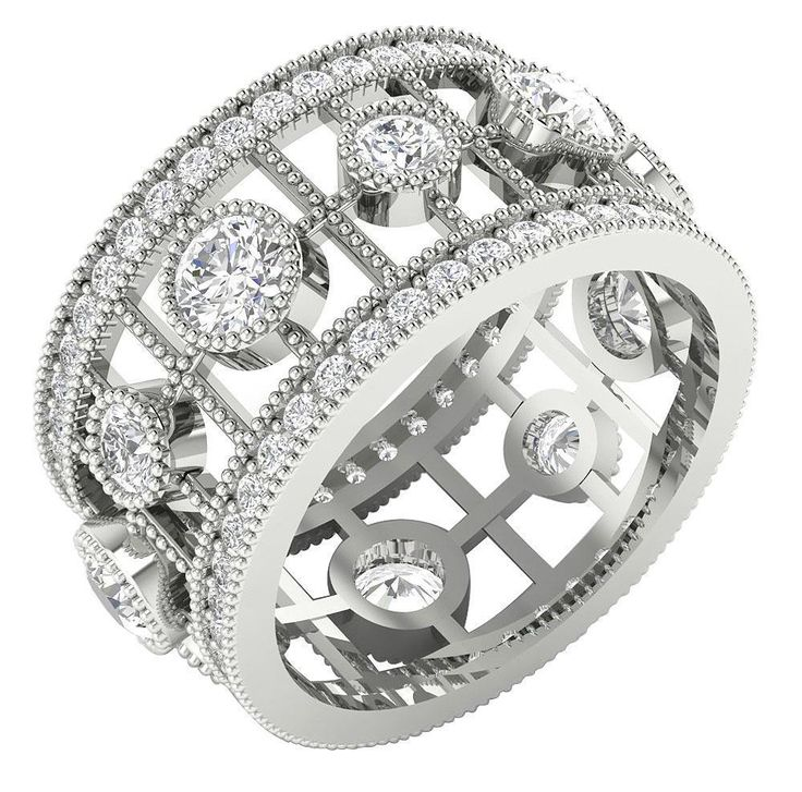 I1/G Huge 3.20 Ct Round Diamond Solid Gold Designer Milgrain Eternity Ring Band #DiamondForGood #WithDiamonds