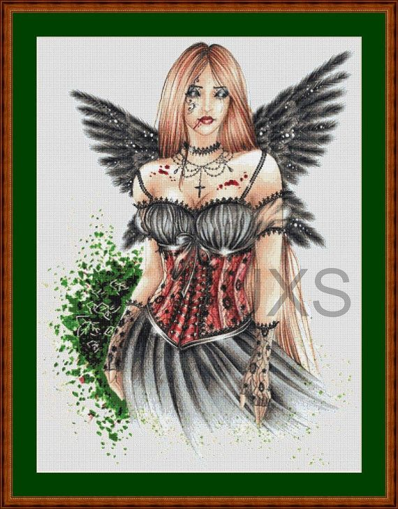 Wind dark angel fantasy counted cross stitch by UnconventionalX, $15.00