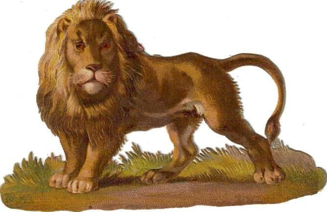 Victorian Die Cut Scrap the Lion c1880
