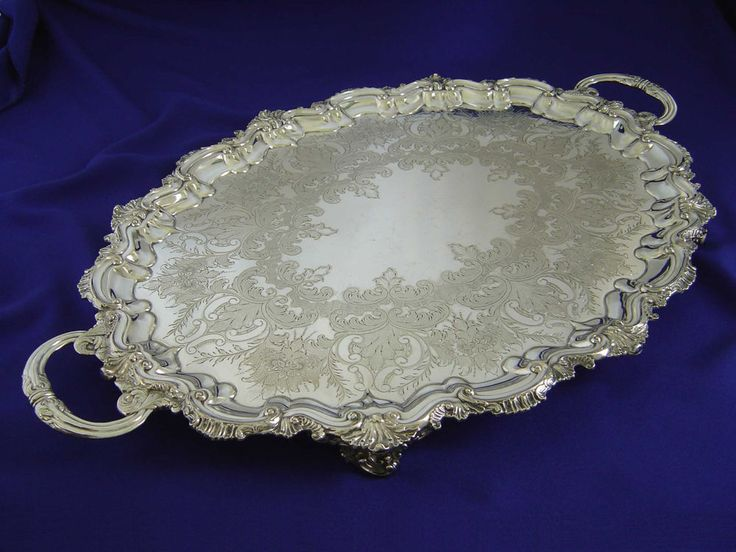 FINE ANTIQUE VICTORIAN LARGE JAYS FOOTED SILVER PLATE TEA SERVING TRAY ENGLAND #JAYSofOXFORDStW $229.95 6/2017