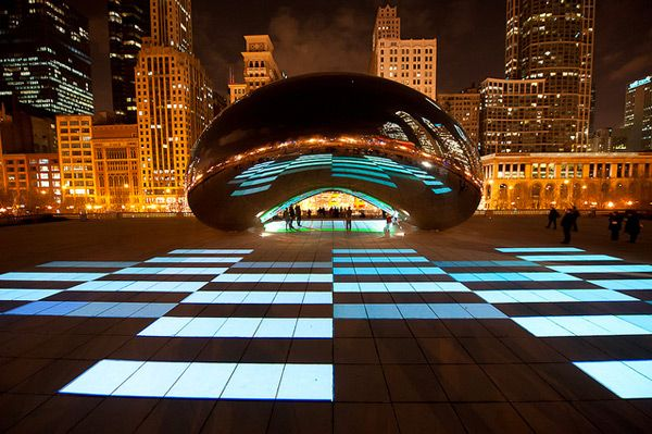 Luminous Field, a choreographed lightshow designed to interact with Chicago's Cloud Gate, by Anish Kapoor.