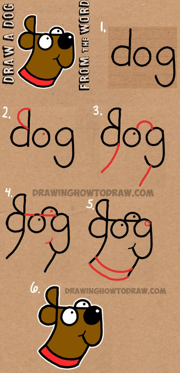 apprendre dessiner un chien partir du mot dog how to draw a dog from the word dog easy step by step drawing tutorial for kids