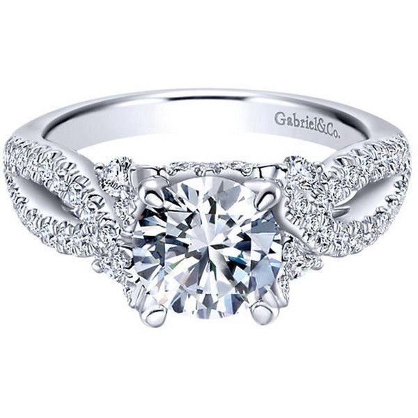 "Gabriel ""Clover"" 14K White Gold Pave Twist Split Shank Diamond... (31.220 NOK) ❤ liked on Polyvore featuring jewelry, rings, pave ring, 14k diamond ring, diamond jewelry, diamond engagement rings и 14k engagement ring"