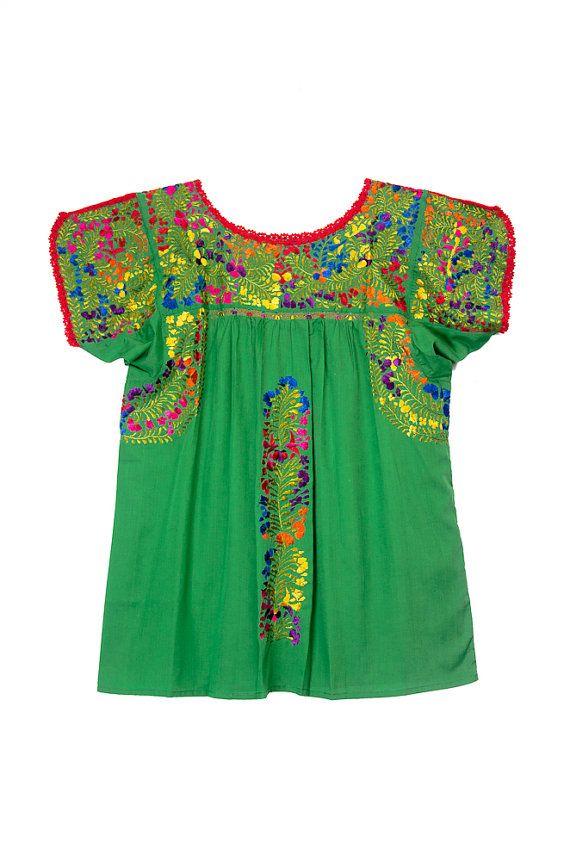 Handmade and Hand Embroidered San Antonino Kelly Green Blouse!!