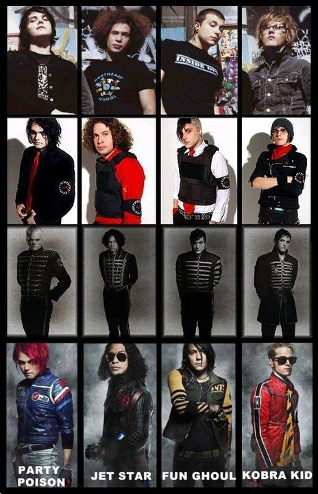 My Chemical Romance through the years. I want to dress up as them for Halloween because I love their style!