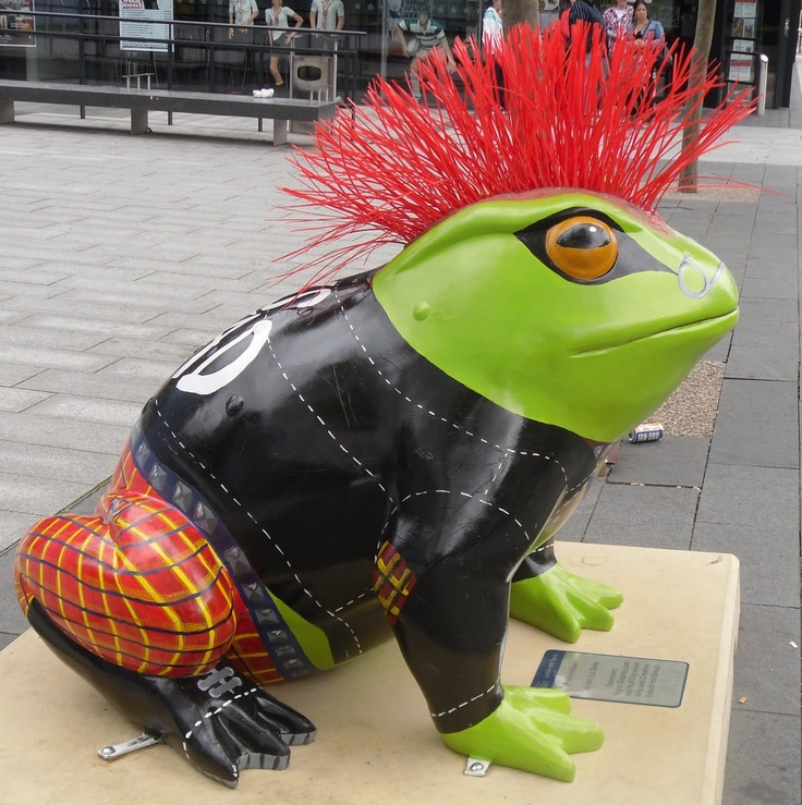 Punkphibian - one of 40 fibreglass toads in Kingston upon Hull in honour of Philip Larkin, 2010.