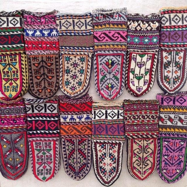 Knitted slippers from Masouleh, Iran.