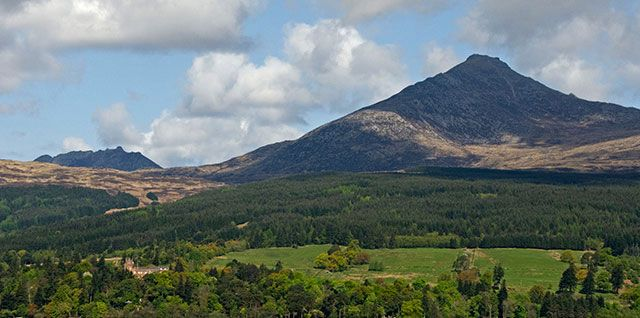 On the Isle of Arran the Trust cares for Goatfell, the highest peak on the island. The Arran skyline is dominated by Goatfells jagged summits and ridges #NTSIslands