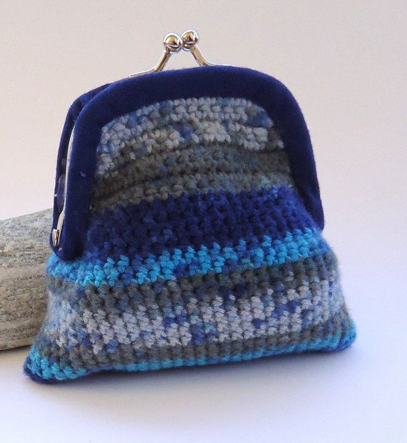 Crochet coin purse with kiss clasp frame in mixed by PopisBOUTIQUE