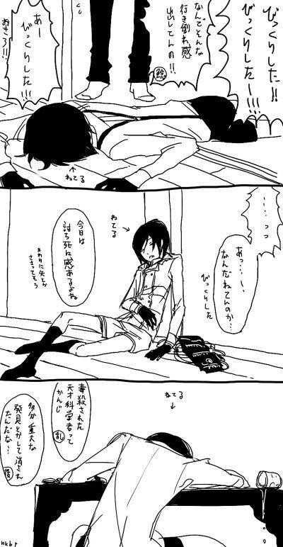 刀剣乱舞 どこでも寝る薬研(ちゃんとオフトゥンで寝かせてあげたい)