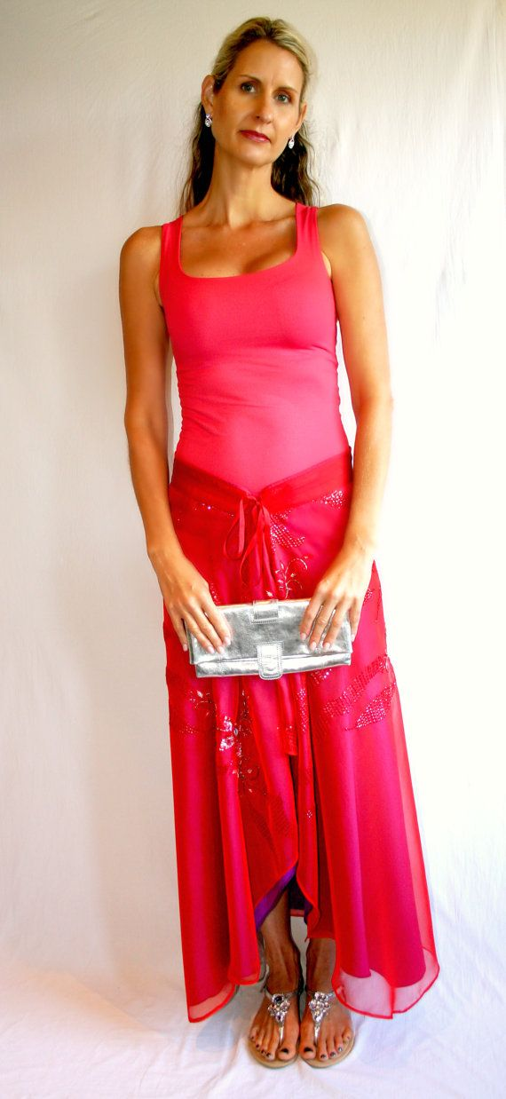 Sarong skirt in red sequinned chiffon by Thai Tie  The by ThaiTie, $34.95