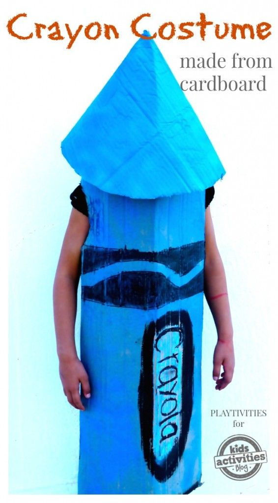 DIY Crayon Costume From Cardboard. Get your paper ready!