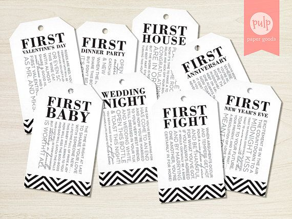 INSTANT DOWNLOAD: Bridal Shower Wine Tags with Poems for Wedding Shower Wine Gift Basket - Set of 8 in Black Chevron (Non-Customized)