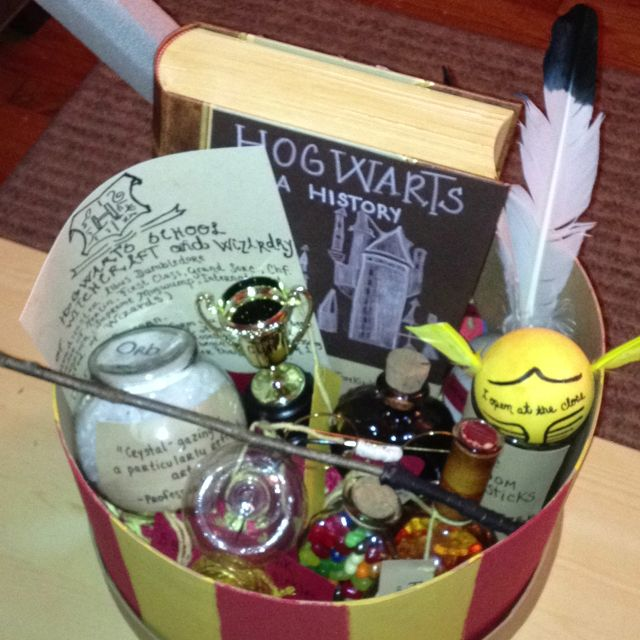 Looooove this! Harry potter DIY present : Acceptance letter, Hogwarts a history, Triwizard cup, glasses, wand, rememberall, golden snitch, love potion, Felix felixer, sword of gryffindor, orb, butterbeer mug, quills, every flavored beans, and wizard currency! .....Can I make this for myself??