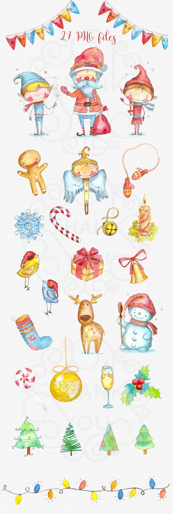 Watercolor christmas decorations set by DIGITALdream on @creativemarket