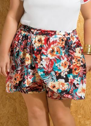 Shorts Saia Soltinho Floral Plus Size - Marguerite
