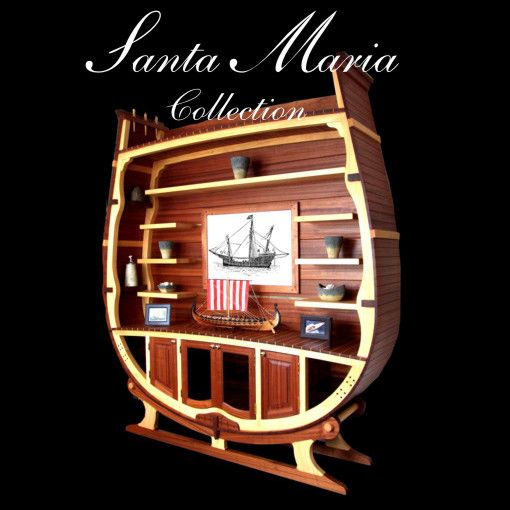 Luxury yacht style, solid wood bookcase looks like the section of a medieval ship by Rubyn. www.rubyn.eu