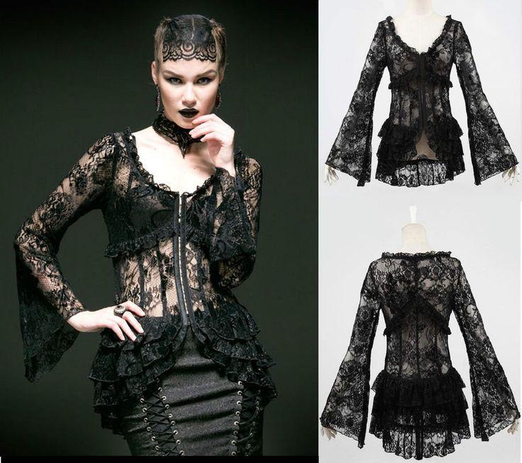 Punk Rave Gothic Lolita Jacket Bluse Spitze WGT Lace Shirt Steampunk Blouse Y535  | eBay