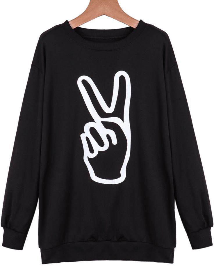 Black Long Sleeve Finger Print Loose Sweatshirt #streetstyle