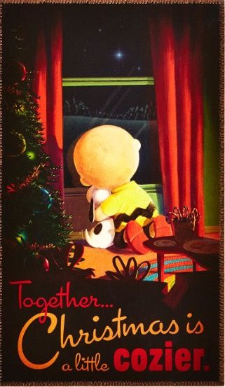 'Together Christmas is Cozier', Charlie Brown and Snoopy.