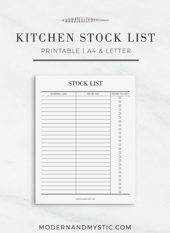 YOUR KITCHEN STOCK LIST PRINTABLE CONSISTS OF:  1x A4 PDF document of your Kitchen Stock List 1x US Letter Size PDF document of your Kitchen Stock List   Begin the journey to your dream lifestyle by starting to plan tomorrow, today.  ----------------------------------  PLEASE NOTE THE FOLLOWING:  This is a digital download product and therefore, no physical product will be shipped.  Before purchasing, please ensure that you have read and agree to the policies of this store by referring to…