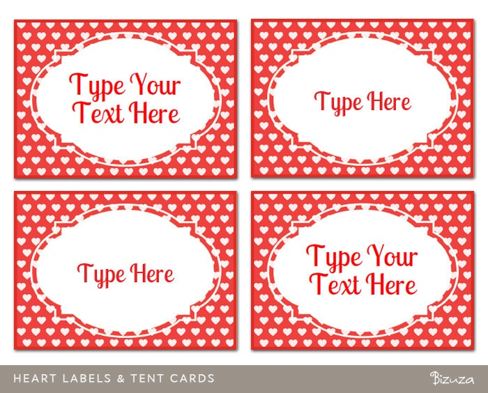 Custom valentine labels hearts design printable and for Decorative labels for printing