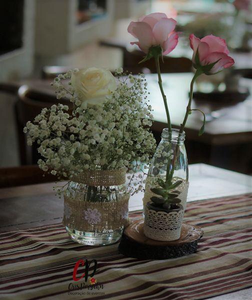 Centro de mesa #casamento #casamentorustico #rosa