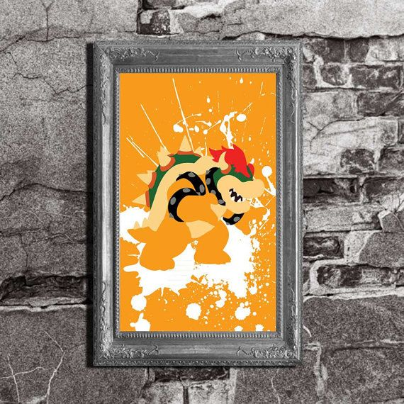 Bowser Splatter  Mario Brothers Inspired  Video Game by FADEGrafix, $14.95