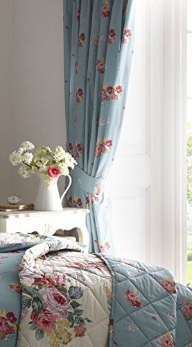 "Multicolour Large Floral Bouquet - Lined, Pencil Pleat / Tape Top Curtains With Matching Tie Backs - 66"" x 72"" (168cm Wide x 183cm Drop ) Approx"