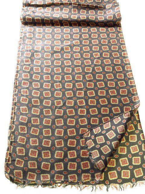 Mens silk scarf geometric print hand rolled - Tweedmans Vintage
