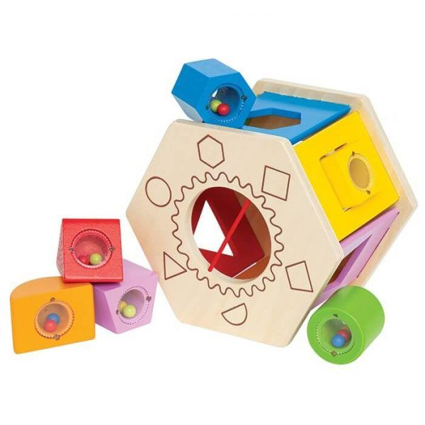 Hape Shake 'n' Match Shape Sorter will keep your baby very busy as they problem solve which block goes through which hole by shape and colour. When ready to remove the blocks, pull aside the elastic band in the centre, and shake them out.