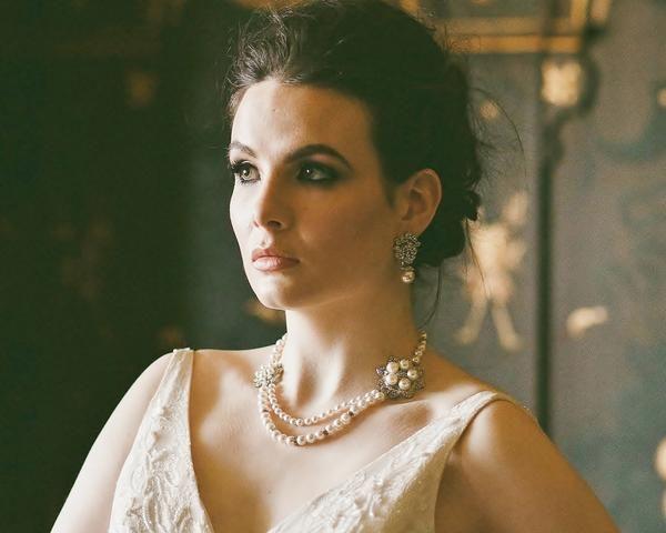 Wedding Necklace - Vintage Style Bridal Necklace, Double Row Swarovski Pearls, Alyson