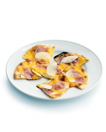 43. Top flour tortillas with ham, cheddar, and thinly sliced apples. Bake until cheese melts.