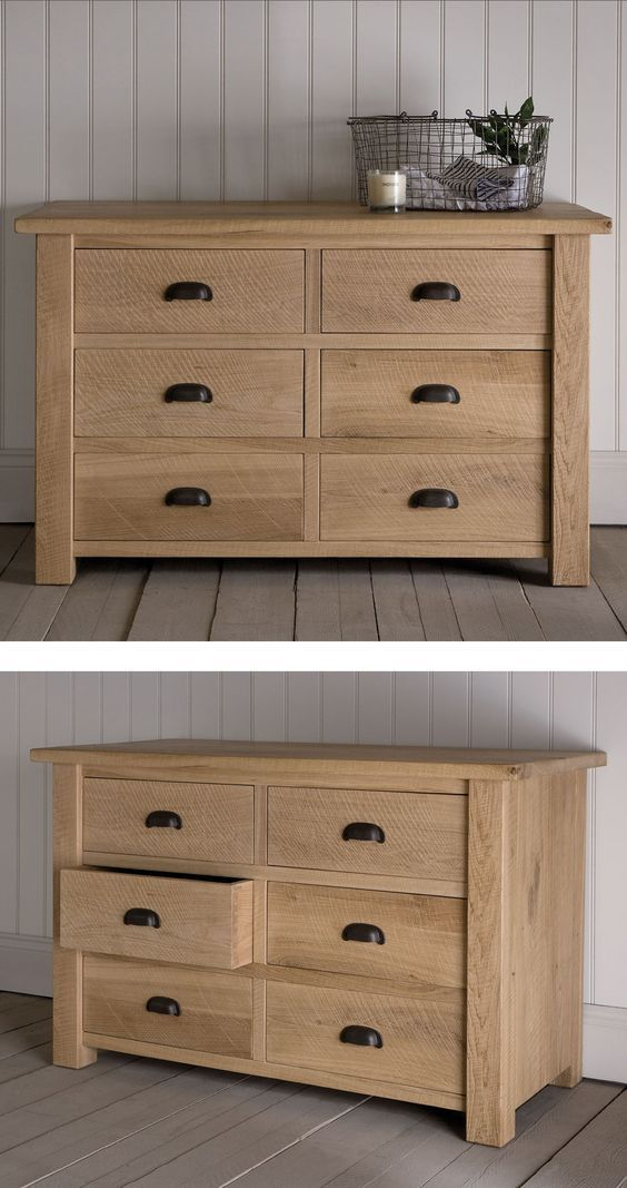Indigo Oak Linen Cupboard ideal for storing seasonal clothing and guest linen. Choose from six dovetailed drawers or choose from one door with three drawers to maintain the aesthetic of a six drawer cupboard. Team with Indigo Oak Bedroom Furniture for the complete sleeping space. #oakcupboard #solidwood #indigofurniture