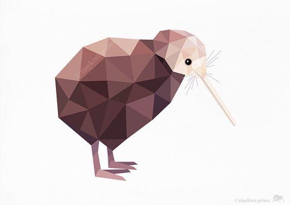 Kiwi, Nieuw-Zeeland Bird, Geometrische druk, Originele illustratie, animal print, Minimal art, Kunst van de Muur