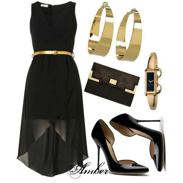 black high low with gold accessories little black dress