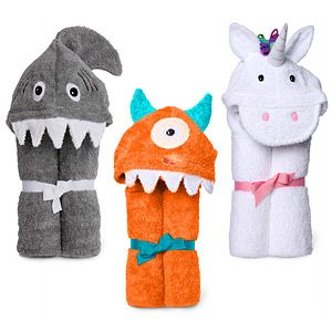 Conquer the bath with one eye or one horn!  Soft & absorbent hooded towels  For freshly bathed geek kids aged 2 and up  100% cotton terry cloth, machine washable  Read more...  $39.99   In stock , except:   Shark ( Est. 2/18 )  Email me when available      One Eyed Mitch Monster Orange  Quantity: 1