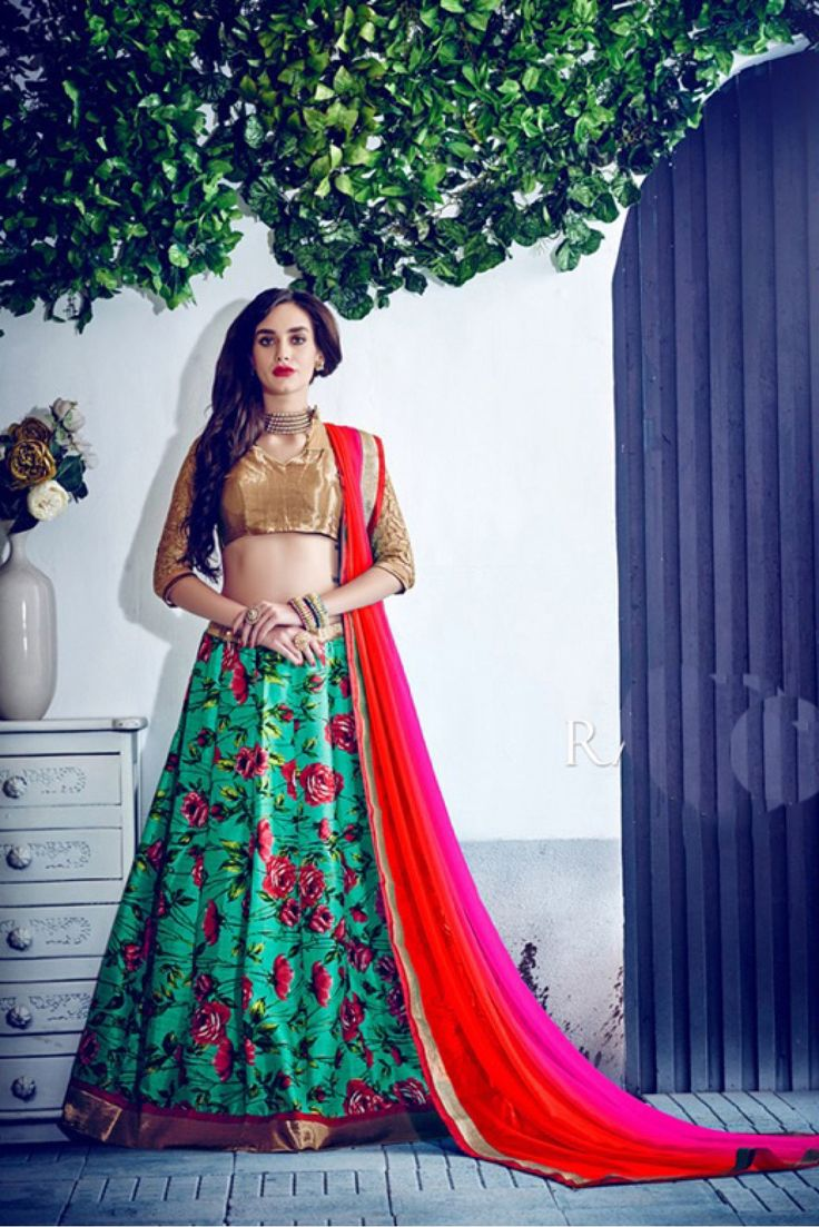 Green Colour Banglori Silk Fabric A Line Flower Printed Lehenga Choli Comes With Matching Blouse and Dupatta. This Lehenga Choli Is Crafted With Embroidery,Printed,Lace Work,Flower Printed Work. The L...